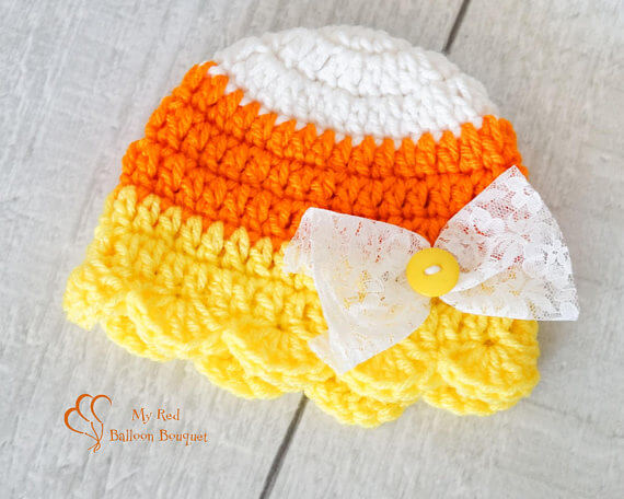 Candy Corn Baby Hat - My Red Balloon Bouquet