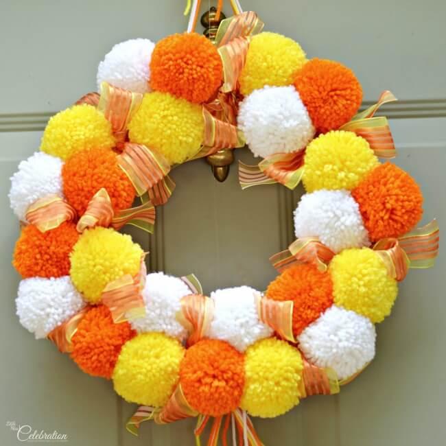 Candy Corn Pom Pom Wreath - Little Miss Celebration