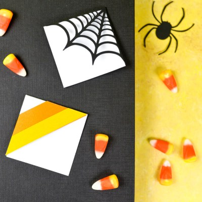 Halloween Bookmarks – Candy Corn + Spider Web