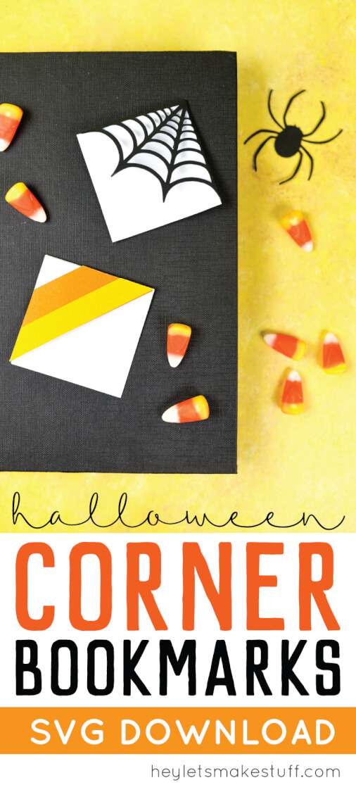 Make these clever corner Halloween bookmarks! The candy corn and spider web bookmarks are perfect for any time you're diving into a particularly spooky book. via @heyletsmakestuf