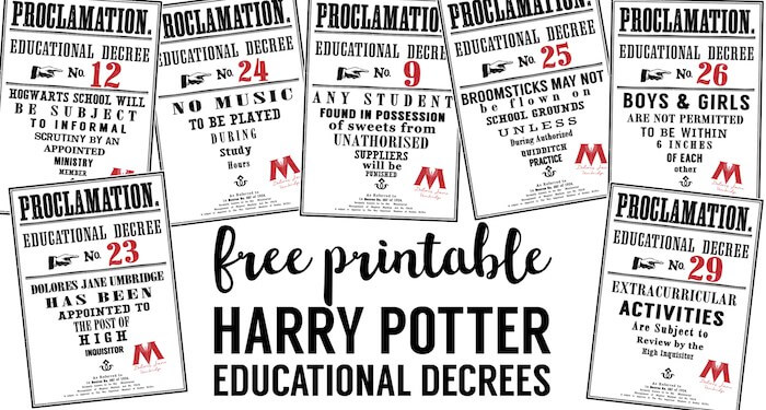 Harry Potter Educational Decrees - Paper Trail Design
