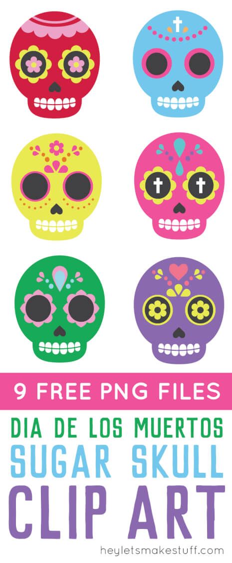 Celebrate Dia De Los Muertos with these these brightly colored sugar skull clip art files! Nine PNG designs for all of your Day of the Dead projects. via @heyletsmakestuf