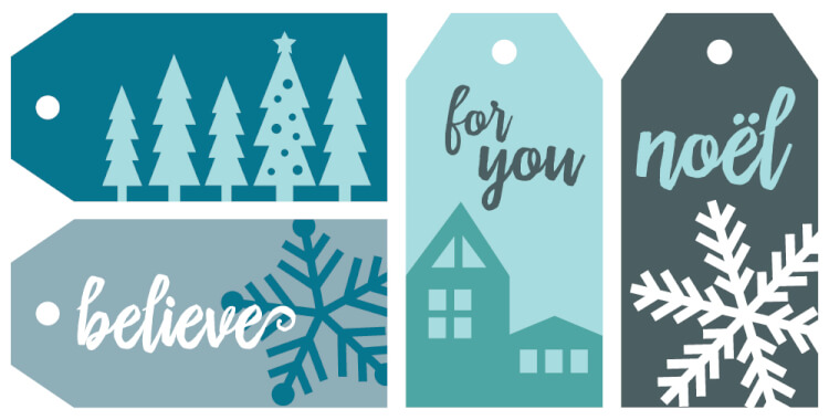 Download these free printable gift tags! Forgo the traditional red and green christmas wrapping paper for these gift wrap ideas centered around crisp, wintry motifs! From free printable gift tags to clever wrapping materials, you'll find all sorts of wintry gift wrap inspiration here.