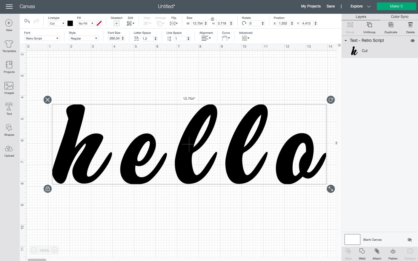 "Cricut Design Space: Type your word ""hello"""
