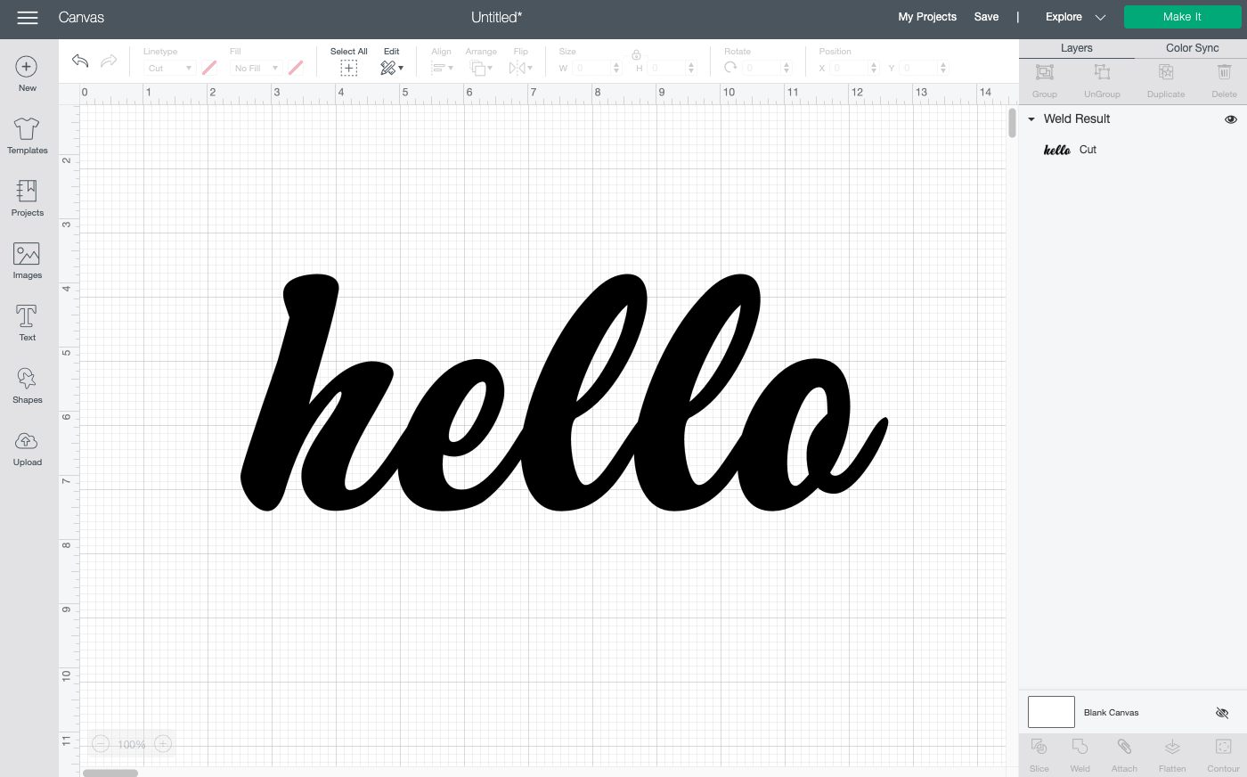 Cricut Design Space: Weld your word into one piece.