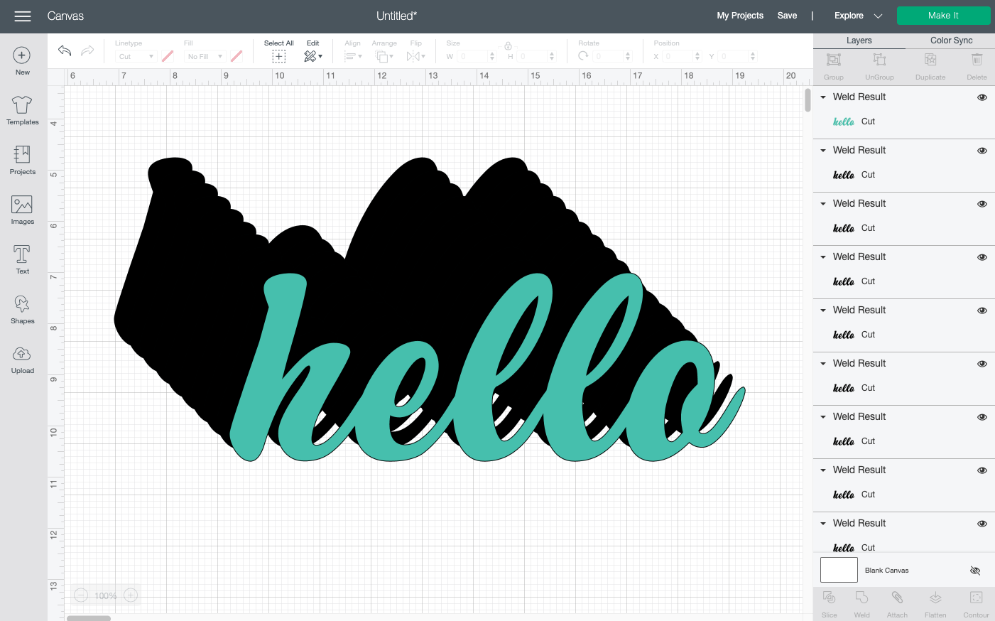 Cricut Design Space: create a bunch of copies of your word, and change the color of the one on the top so it differs from the others.