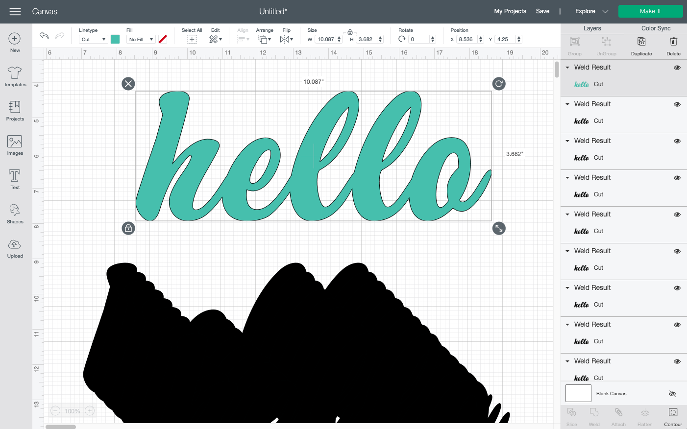 Cricut Design Space: Move your single colored word away from all the copies.