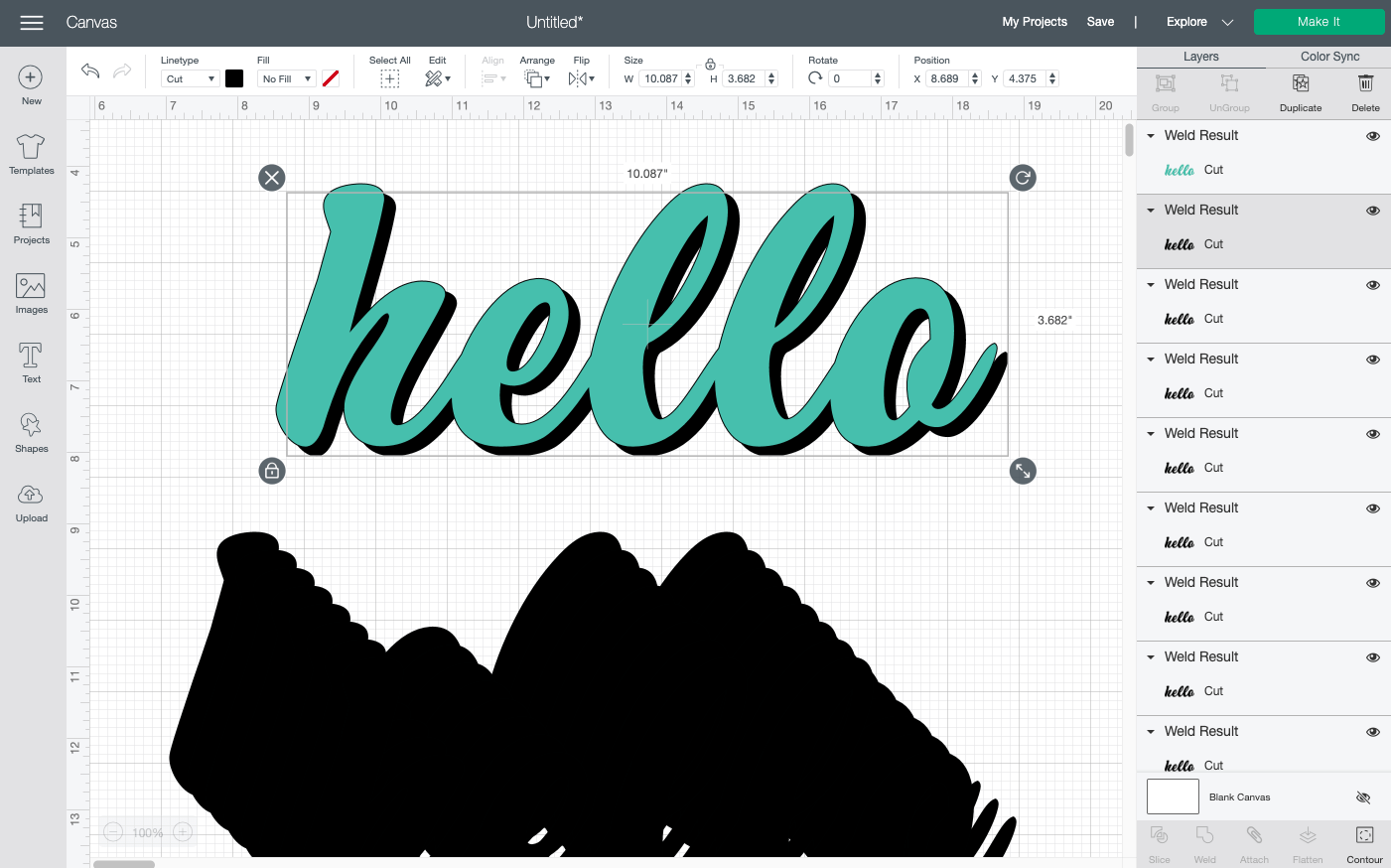 Cricut Design Space: Place one of the copies behind the colored word.
