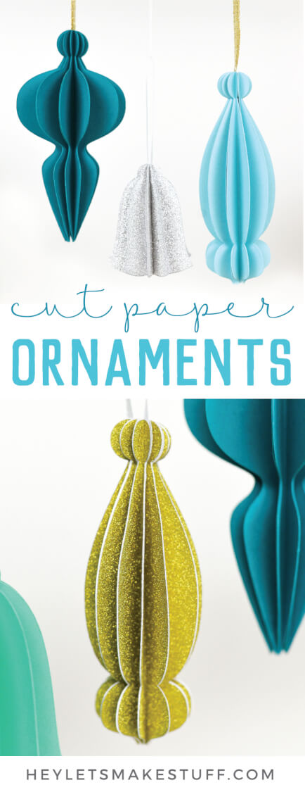 These cut paper ornaments are made with an array of cute papers from JOANN and cut on the Cricut Maker or other electronic cutting machine! Get the free SVG cut files and learn how to assemble these beautiful 3D paper ornaments.