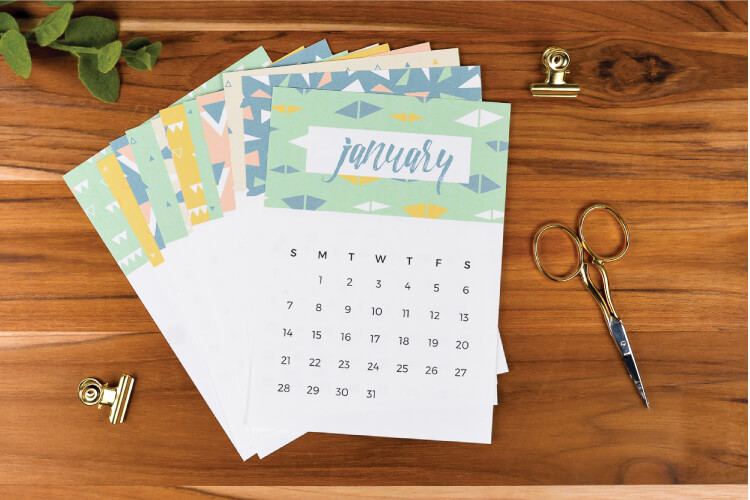 This geometric and fun 2018 printable calendar is the perfect size to sit as a reference on your desk. This calendar is a free download—get it now!