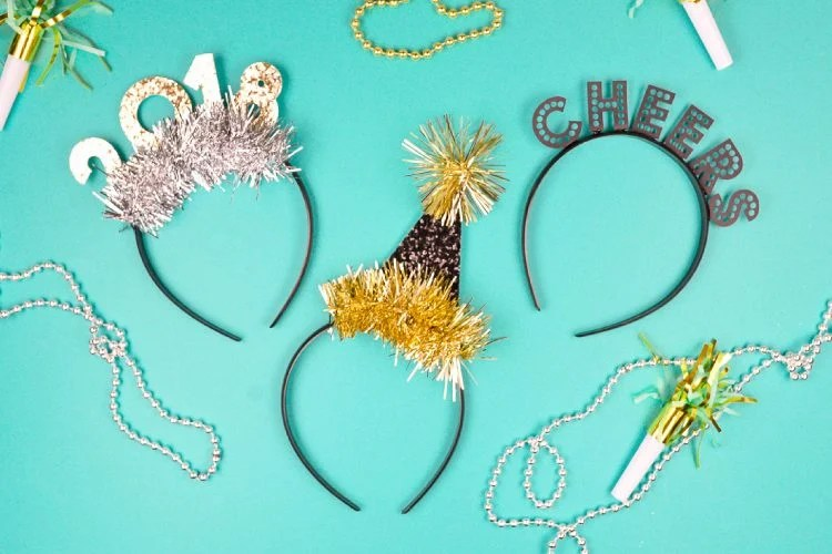 Make these New Year's Eve party headbands using supplies from JOANN and your Cricut or other electronic cutting machine! Perfect for New Year's Eve celebrations and ringing in the new year!