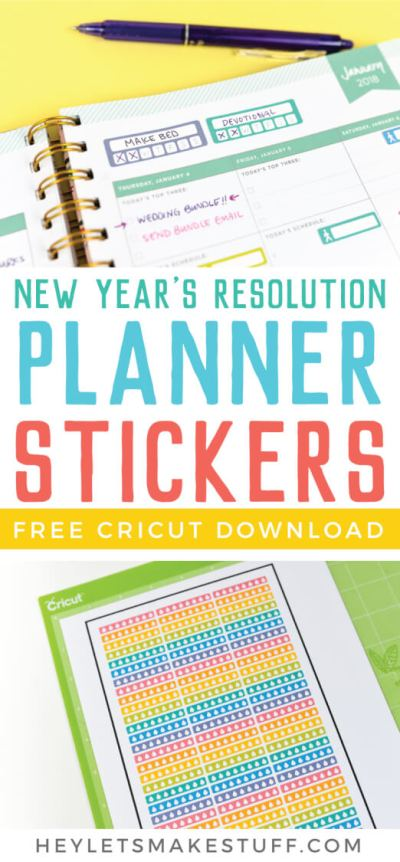 Use Cricut's Print then Cut feature to make your own printable planner stickers! Plus download three New Year's Resolution printable sticker sheets—a hydration tracker, a steps tracker, and a blank tracker for you to use however you'd like!