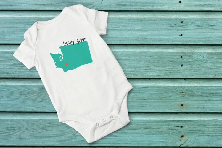 "Show your love for your home state with these adorable ""locally grown"" cut files! Particularly cute on onesies, but also perfect for t-shirts, mugs, and totes. The heart can be moved around to be placed on your hometown. Get them individually or as a set of 50."