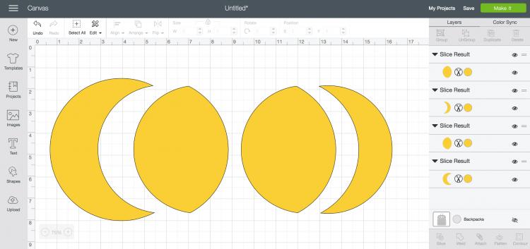 screenshot of using Slice Design Space