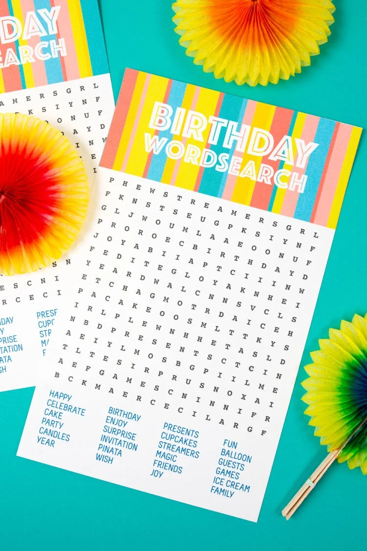photo regarding Free Printable Birthday Games for Adults known as Birthday Phrase Glance - Totally free Printable Obtain - Suitable for
