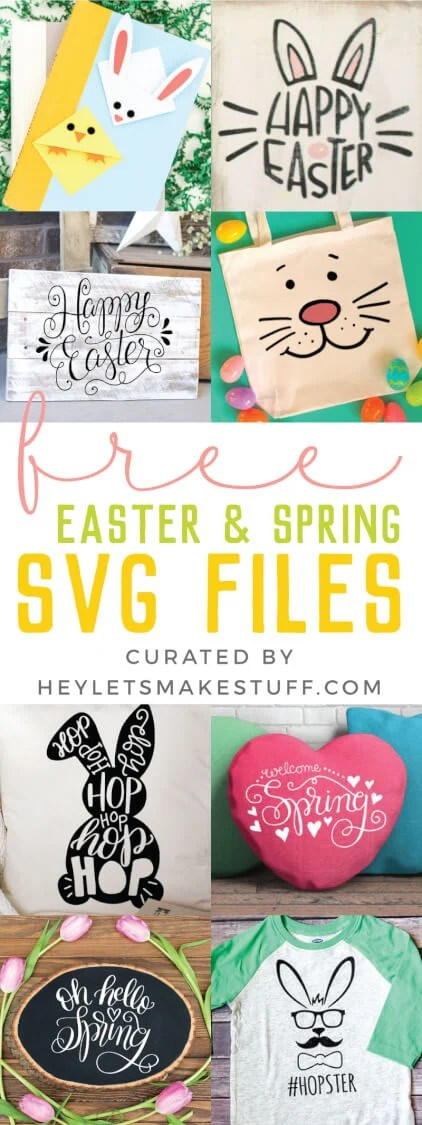 I'm sharing my favorite FREE SVGs for Easter and spring! All the colors, designs, decor, and adorable characters you'll need for a fun and festive season. via @heyletsmakestuf