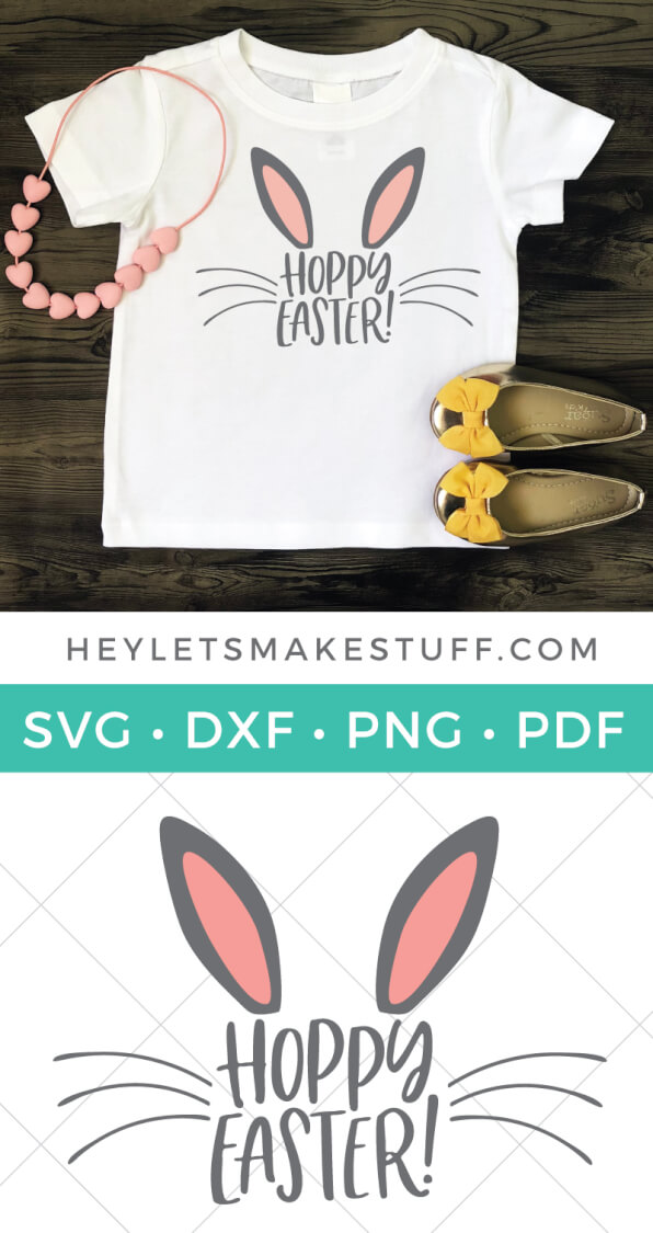 This adorable Hoppy Easter SVG is just the thing for Easter onesies and kids' t-shirts, as well as on cute Easter decor and Easter basket stuffers! via @heyletsmakestuf