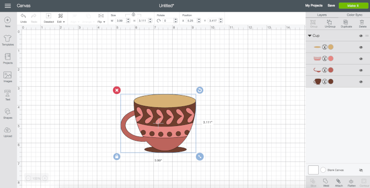 Inserted Coffee Cup | Want to curve text in Cricut Design Space? You finally can! This long awaited feature is easy to use—just follow these simple instructions to be curving your text in no time.