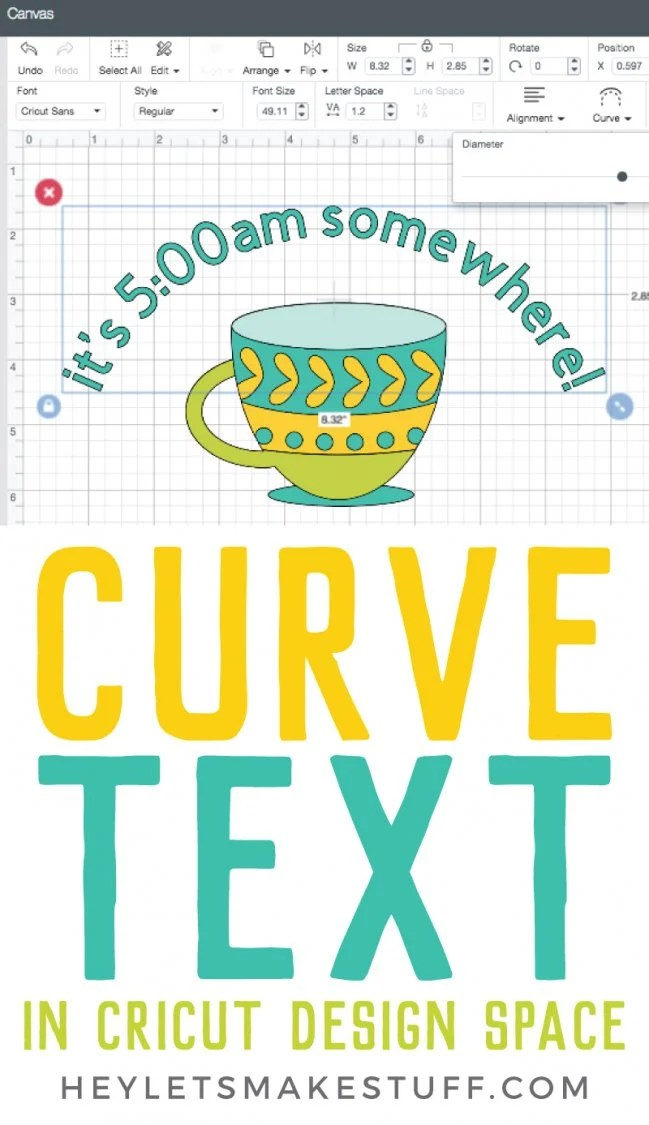 How to Curve Text in Cricut Design Space pin image