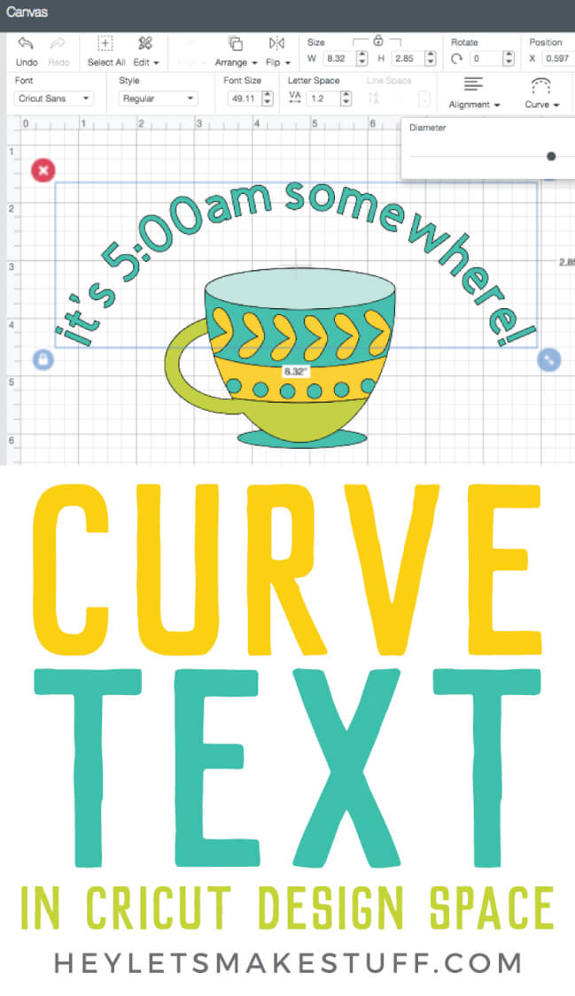 Want to curve text in Cricut Design Space? You finally can! This long awaited feature is easy to use—just follow these simple instructions to be curving your text in no time. via @heyletsmakestuf