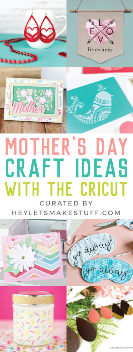 Mother's Day is the perfect time to create something handmade for your mother! She'll love these Mother's Day Craft Ideas made using the Cricut, like candles, tea towels, tote bags, and earrings. And because they are made using the Cricut, they are easy and fun to make! #cricutmade #mothersdaygifts via @heyletsmakestuf