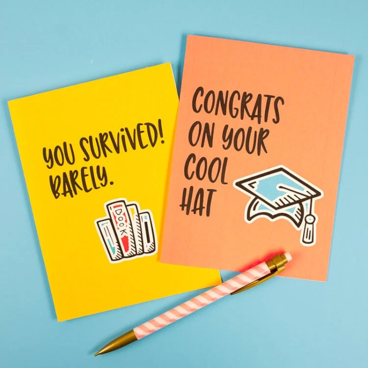 Celebrate the grad in your life with some laughs! These printable funny graduation cards are great for this memorable milestone. The perfect accompaniment for any graduation gift idea.