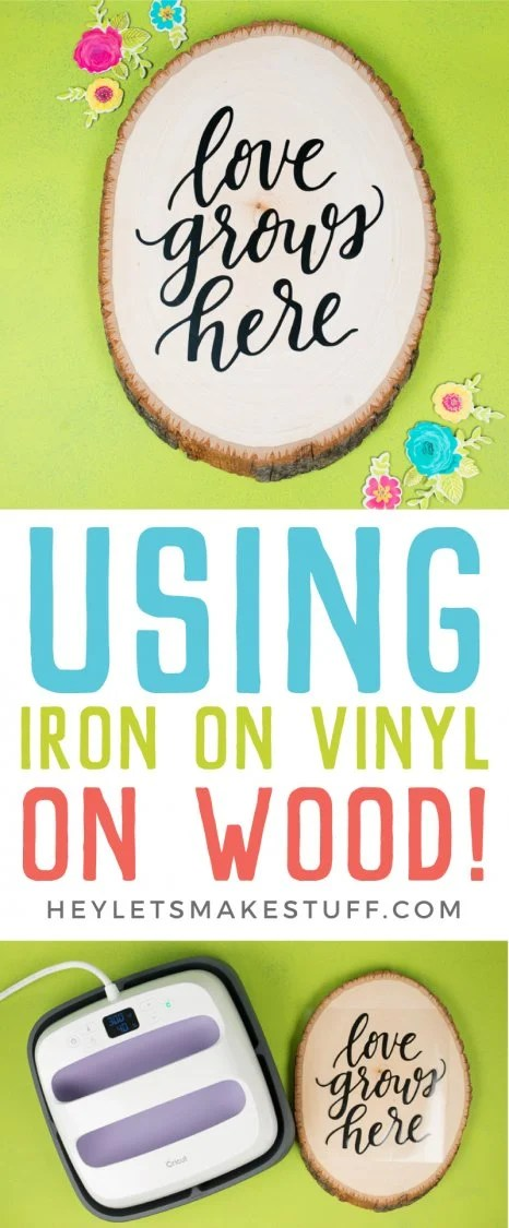 Using Iron On Vinyl on wood is an easy way to add style to any project! Plus it super easy using your Wisteria Cricut Explore Air 2 exclusively from JOANN and your Cricut EasyPress. Get tips and tricks for making your wood and iron on project a success!