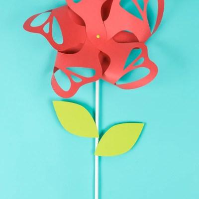 Flower Paper Pinwheels