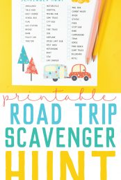 """This free printable road trip scavenger hunt is so much fun for all ages and can be played every time your family goes on vacation! This road trip game will keep your family entertained in the car—no more """"are we there yet?""""s!"""