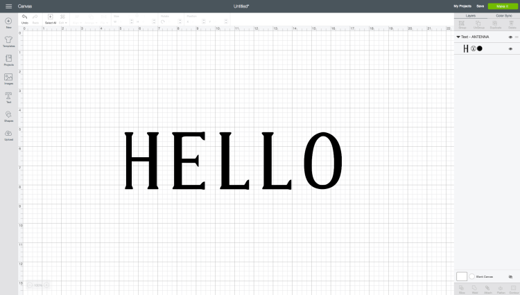 HELLO using Antenna font