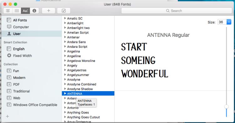 Installed Font