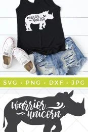 Be fierce and fancy with this Warrior Unicorn SVG file. Use your Cricut or other cutting machine to create a fun t-shirt, onesie, or totebag.
