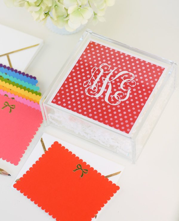 Acrylic Monogrammed Stationery Box
