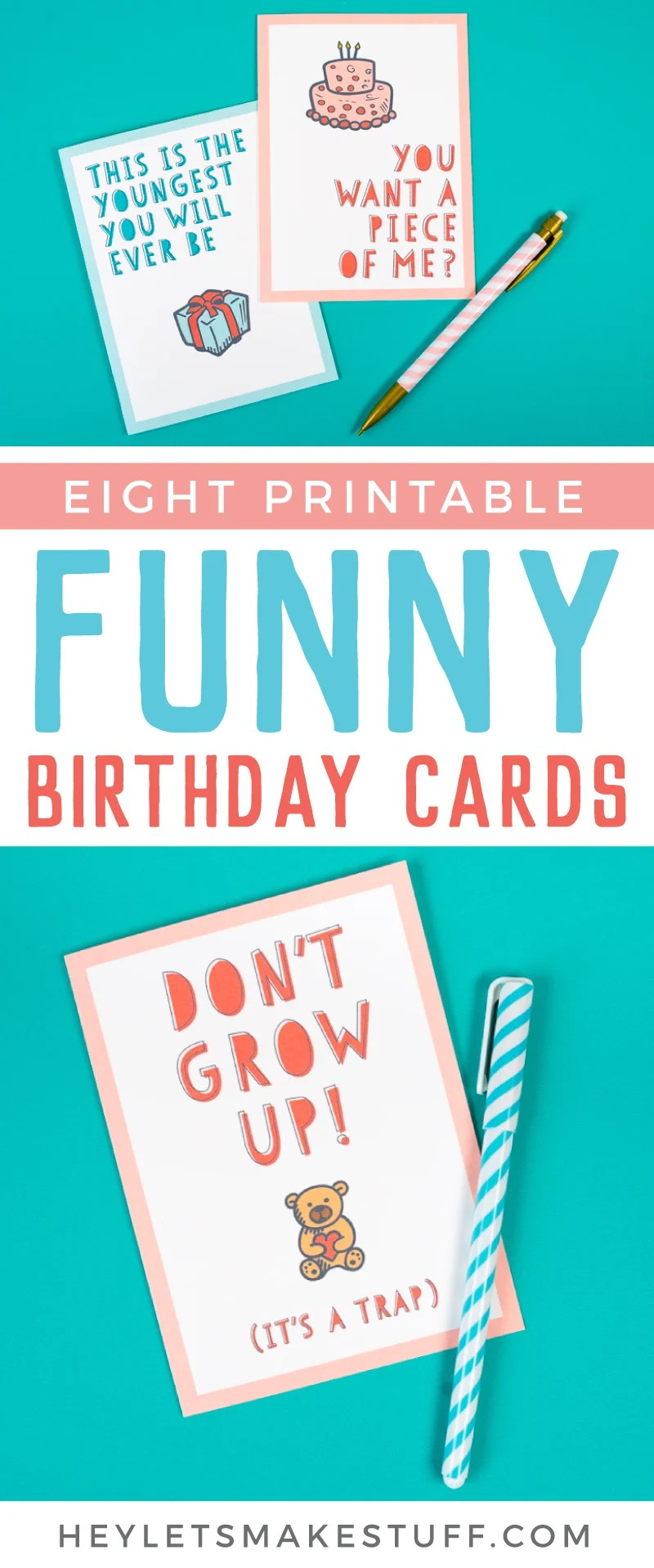 image regarding Funny Printable Birthday Cards referred to as Absolutely free Amusing Printable Birthday Playing cards for Older people - 8 Patterns!