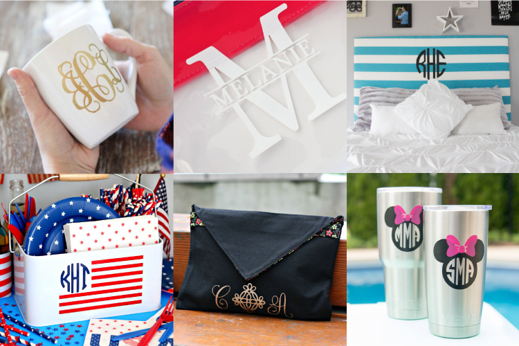 From tote bags to t-shirts, home decor to party props, you can monogram just about anything with your Cricut or other cutting machine! Here are a boatload of Monogram crafts and projects for you to make.