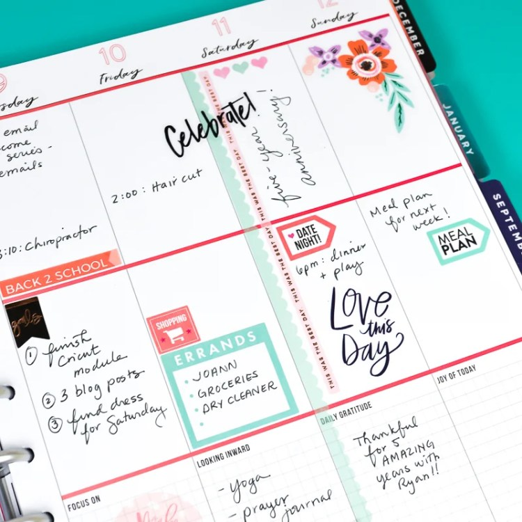Plan ahead for the new school year with these printable back to school planner stickers! Print on sticker paper or use Cricut Print then Cut. Plus get my best beginner planner tips!