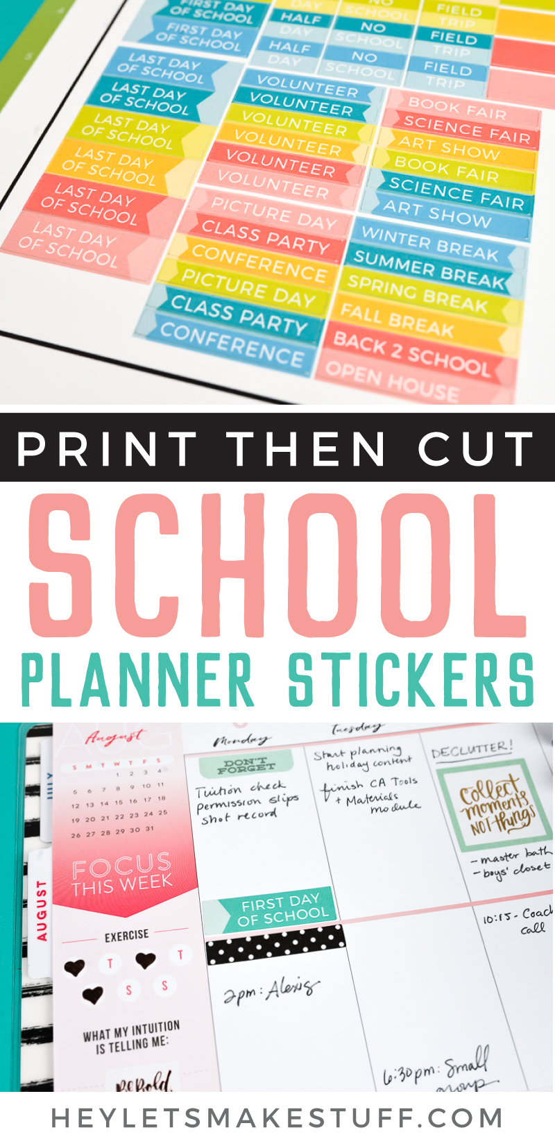 Plan ahead for the new school year with these printable back to school planner stickers! Print on sticker paper or use Cricut Print then Cut. Plus get my best beginner planner tips! via @heyletsmakestuf