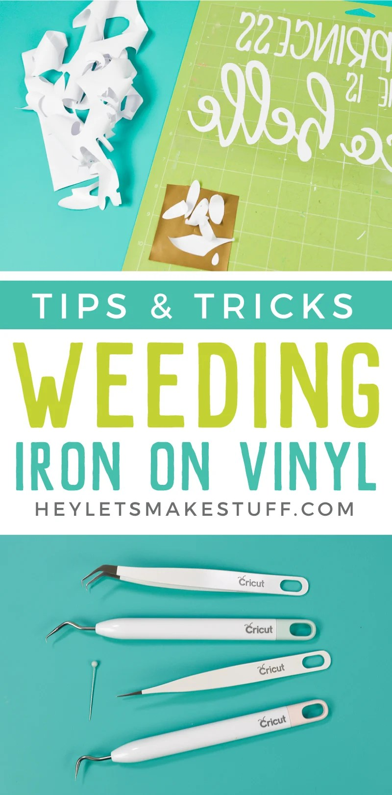 Frustrated weeding iron on vinyl for projects made using your Cricut or other cutting machine? Here are tips and tricks to make weeding HTV easier! via @heyletsmakestuf
