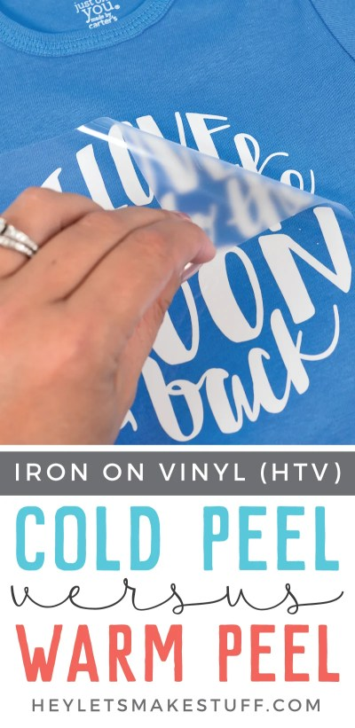 Knowing whether you need to cold peel or warm peel your iron-on vinyl (HTV) is important for getting the best results! Here's a quick primer on cold peel vs. warm peel.