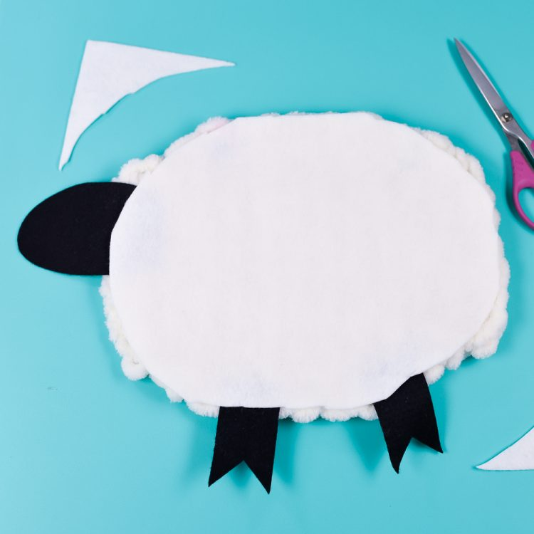Add felt to the back of the sheep