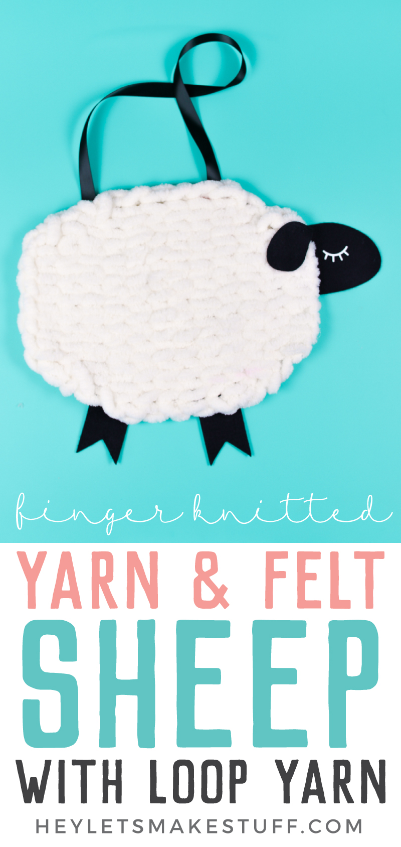 Have you tried loop yarn? Use this super-soft Bernat Alize Blanket-EZ yarn to knit without needles! Use it to create this adorable nursery decor: a yarn and felt sheep wall hanging! via @heyletsmakestuf