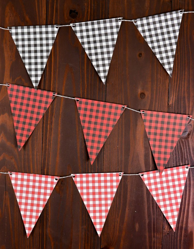 Download and print these free buffalo plaid pennants, perfect for fall and holiday decor, as well as outdoorsy and lumberjack parties! Get six colorways, in both traditional and bright tones.