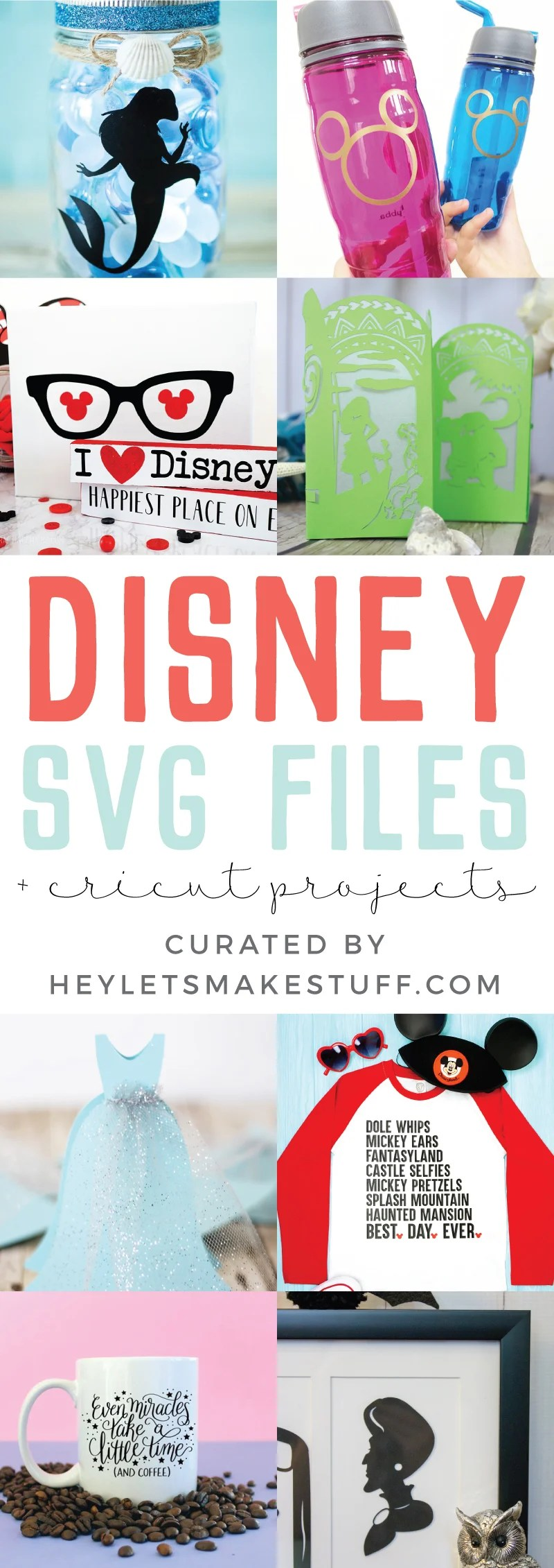 Bring the happiest place on earth a little closer to home with this fun collection of Disney SVG files and Cricut crafts! Let Mickey & friends adorn everything from tote bags to tumblers to family vacation t-shirts. via @heyletsmakestuf