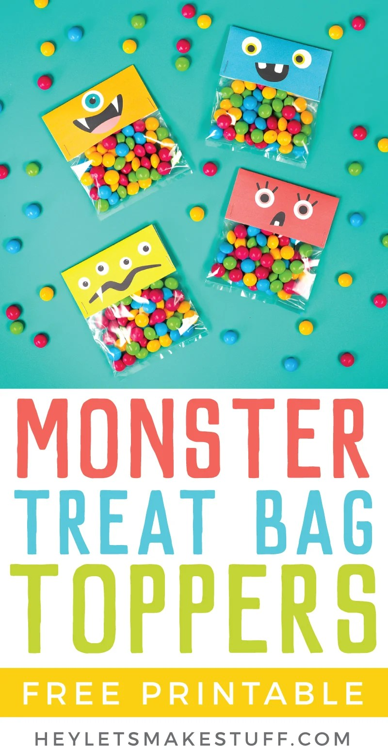 These monster printable halloween treat bags are a cute non-scary Halloween idea, plus they can be used for all sorts of monster parties throughout the year! via @heyletsmakestuf