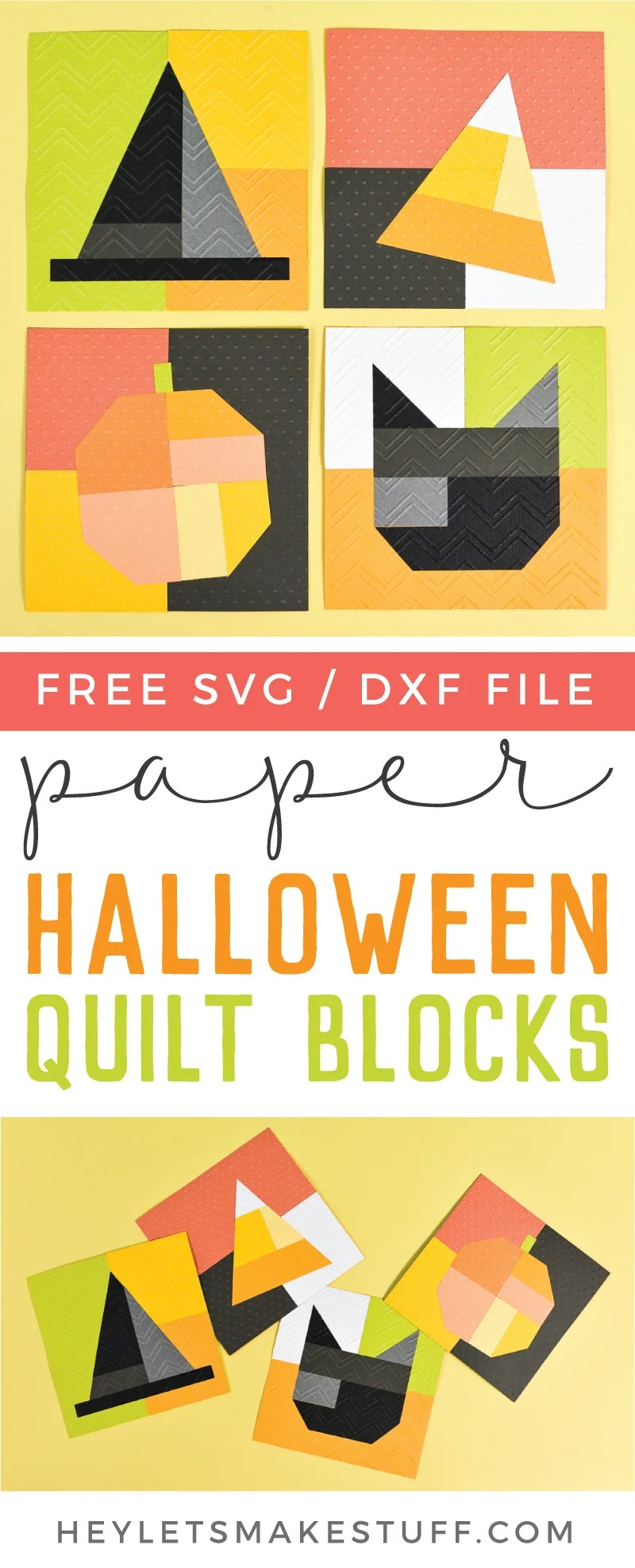 No sewing skills are necessary to make these adorable paper Halloween quilt blocks! Use your Cricut Explore or Maker and Cricut Cuttlebug to make this festive Halloween decor. via @heyletsmakestuf