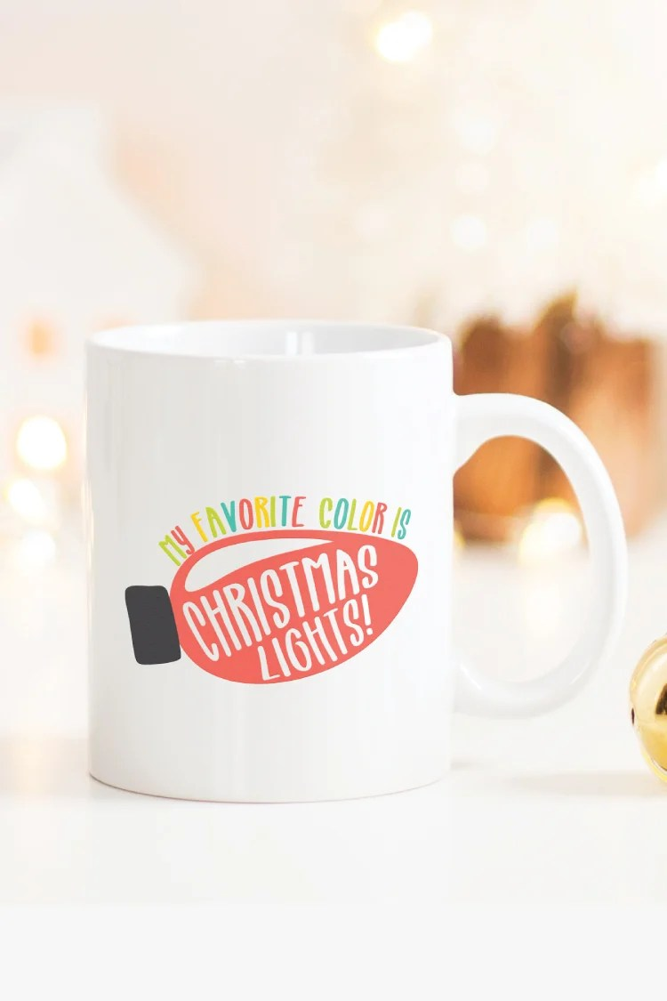 Let your Christmas Lights shine! Light up t-shirts, tote bags, mugs, sweaters and just about anything else with this bright and colorful Christmas Lights SVG!