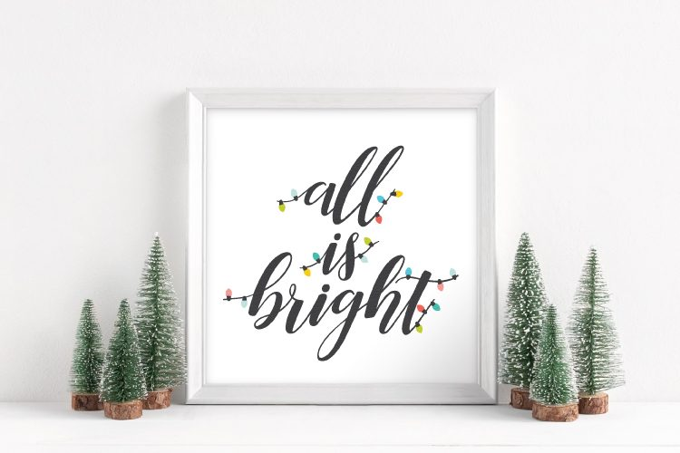 From twinkling Christmas trees to scented candles to strings of outdoor decorations, the holidays are full of light. This All is Bright SVG will light up all your holiday crafts and projects!