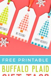 Buffalo plaid is totally in right now and just in time for the holiday season! Download and print these trendy Christmas gift tags and dress up those packages with a homemade element!