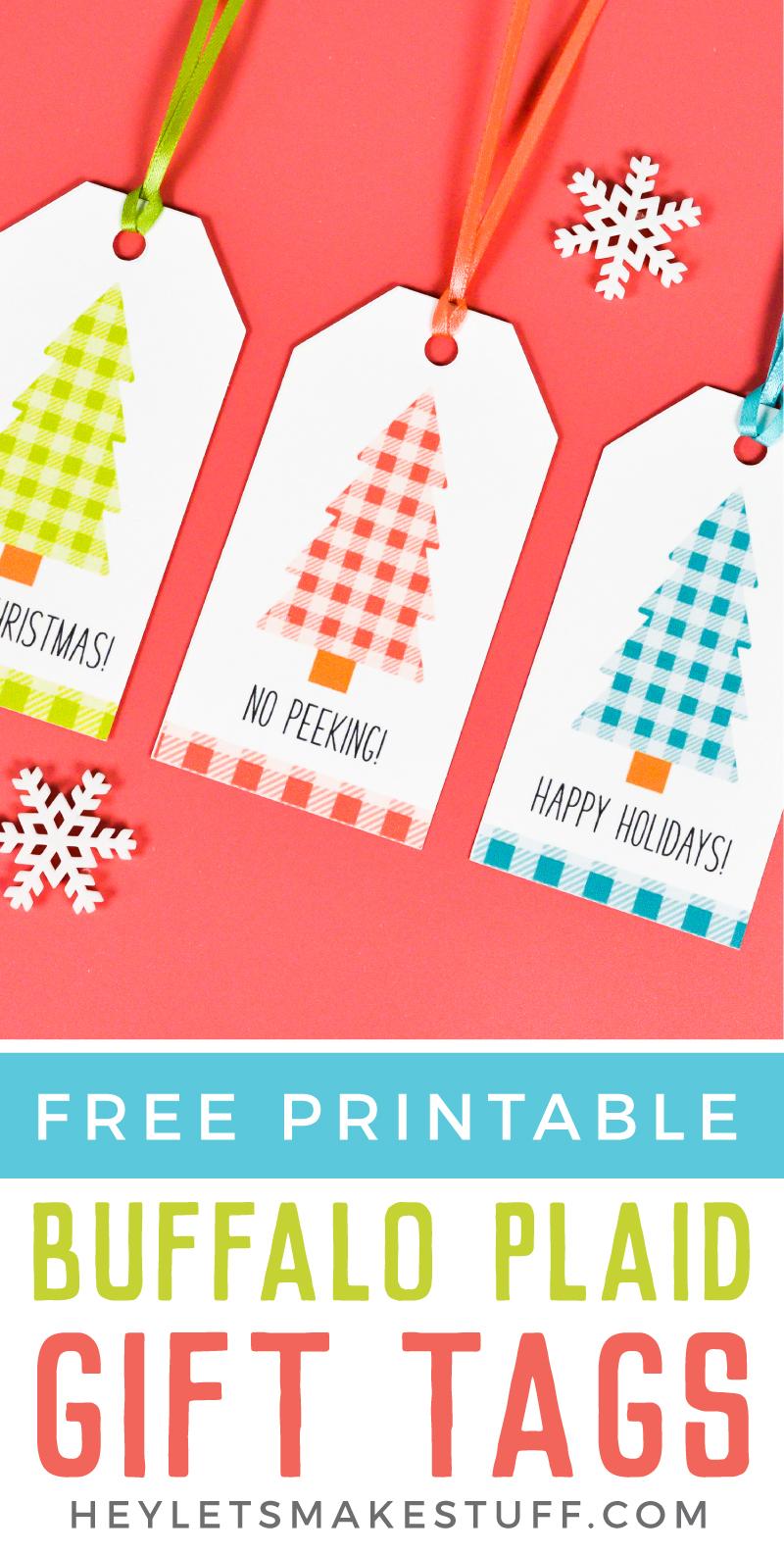 image relating to Printable Gift Tags Christmas identify Buffalo Plaid Printable Xmas Present Tags - Hey, Enables