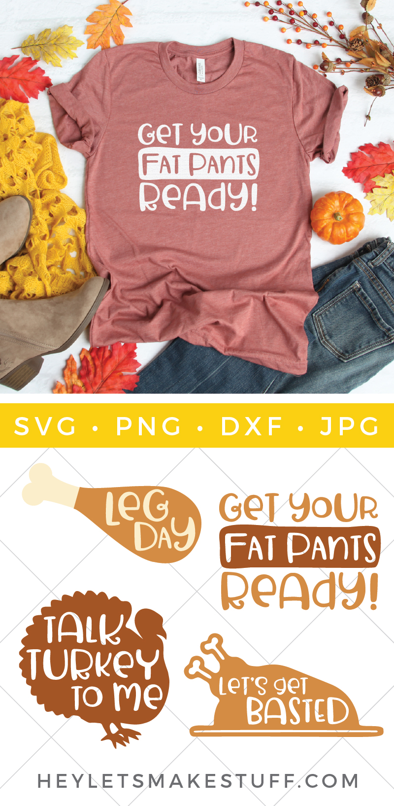 It's the one day of the year when eating all the things is not only expected but encouraged! Get your t-shirts, napkins, placemats and so much more  ready for turkey day with this Thanksgiving SVG bundle. via @heyletsmakestuf